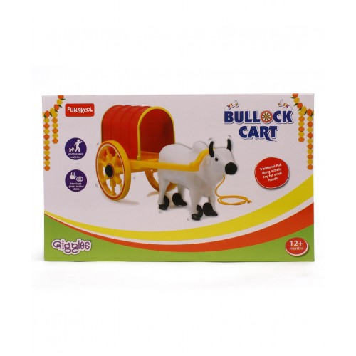Giggles Pull Along Bullock Cart Toy - White Red