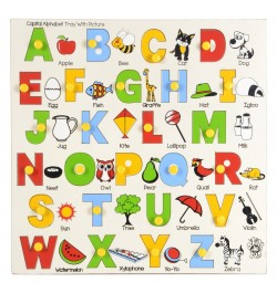Skillofun Wooden Identification Tray - Capital Alphabets with Pictures