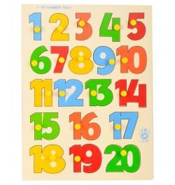Skillofun Wooden Identification Tray - Numerical Shape Numbers 1 - 20