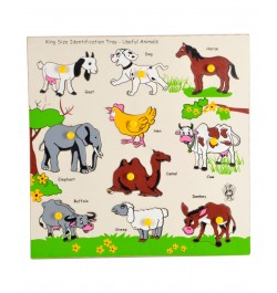 Buy Skillofun Wooden King Size Identification Tray - Useful Animals Online in India
