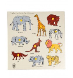 Buy Skillofun Wooden King Size Identification Tray - Wild Animals Online in India